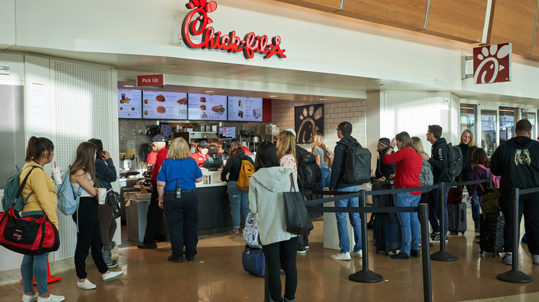 Customer line at airport Chick-fil-A