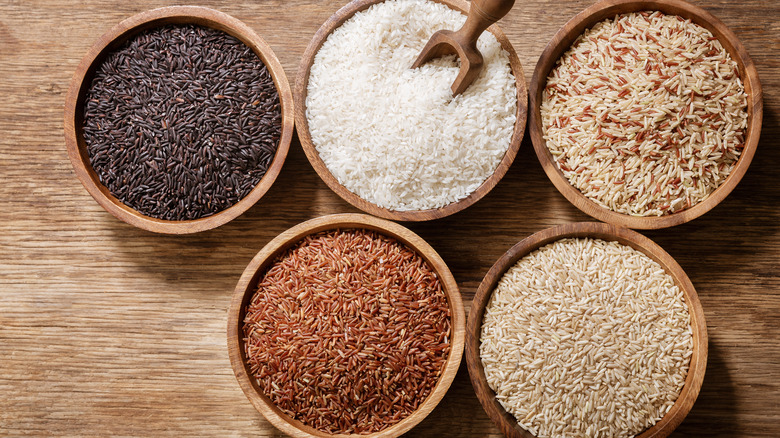Different kinds of rice in bowls