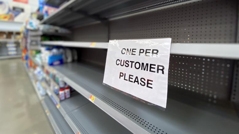 Panic buying empty store shelves