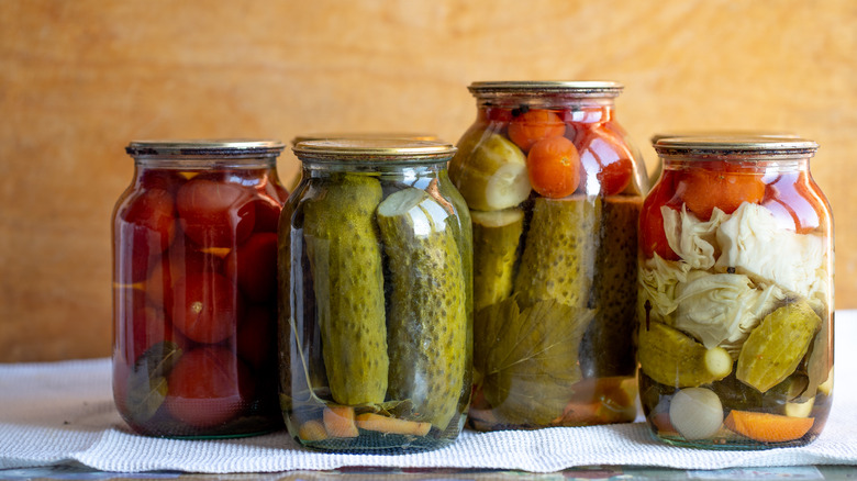 Canned pickles and vegetables