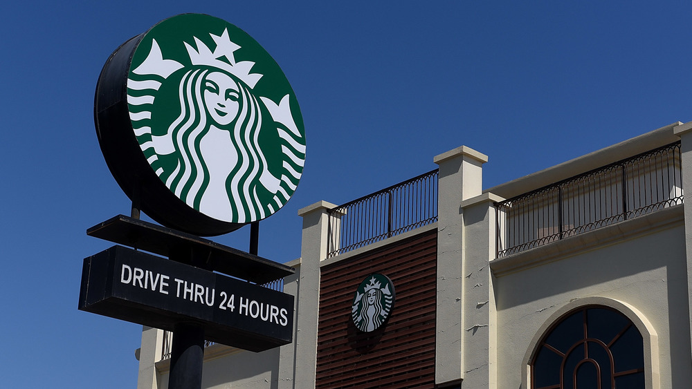 Starbucks logo drive thru sign