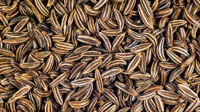 Close bunch of caraway seeds
