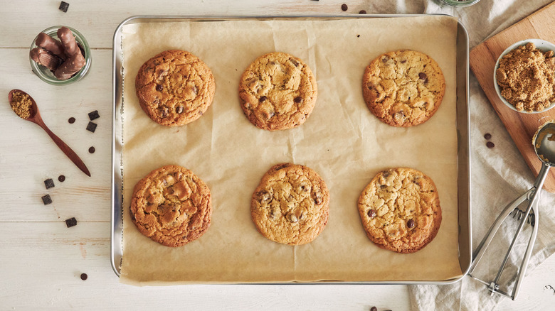 Chocolate chip cookies on a tray