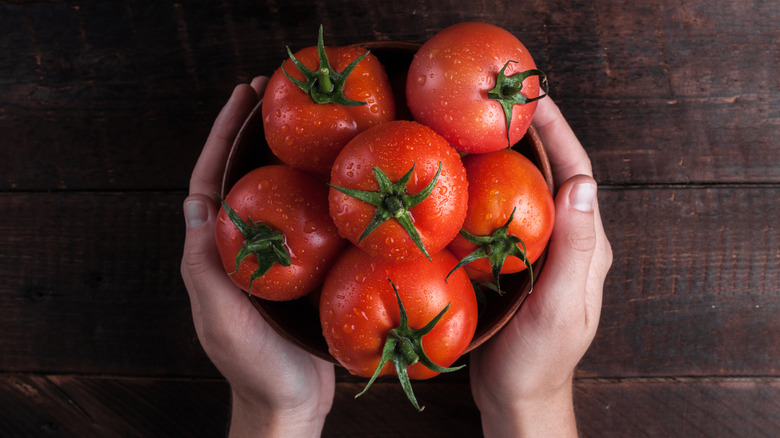 Hands holding tomatoes on brown wood