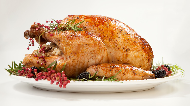 Thanksgiving turkey dressed up on platter
