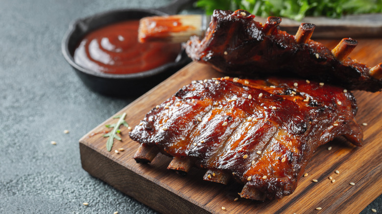 Pork ribs grilled, barbecue sauce