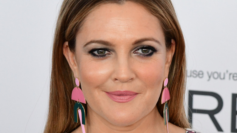 Closeup of Drew Barrymore wearing earrings