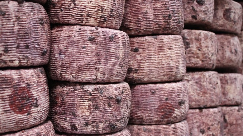 Wine-soaked cheese wheels