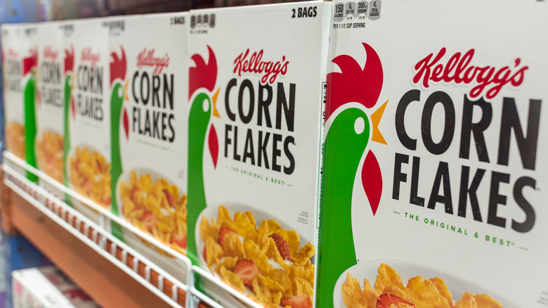 Kellogg's Corn Flakes cereal boxes on shelf