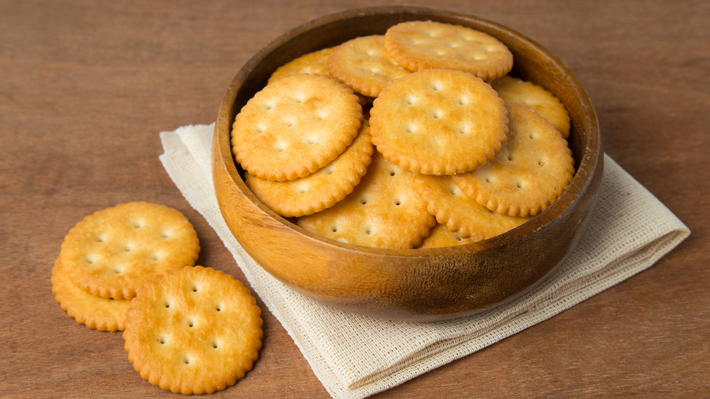 bowl of Ritz crackers on table