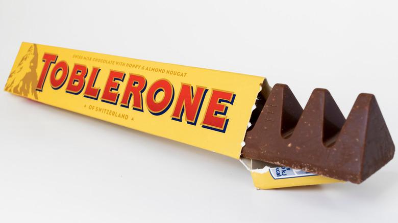 Partially unwrapped Toblerone