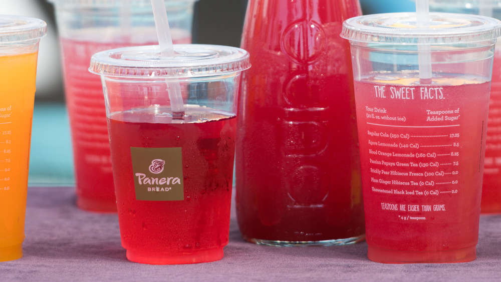 Panera Bread beverages on table