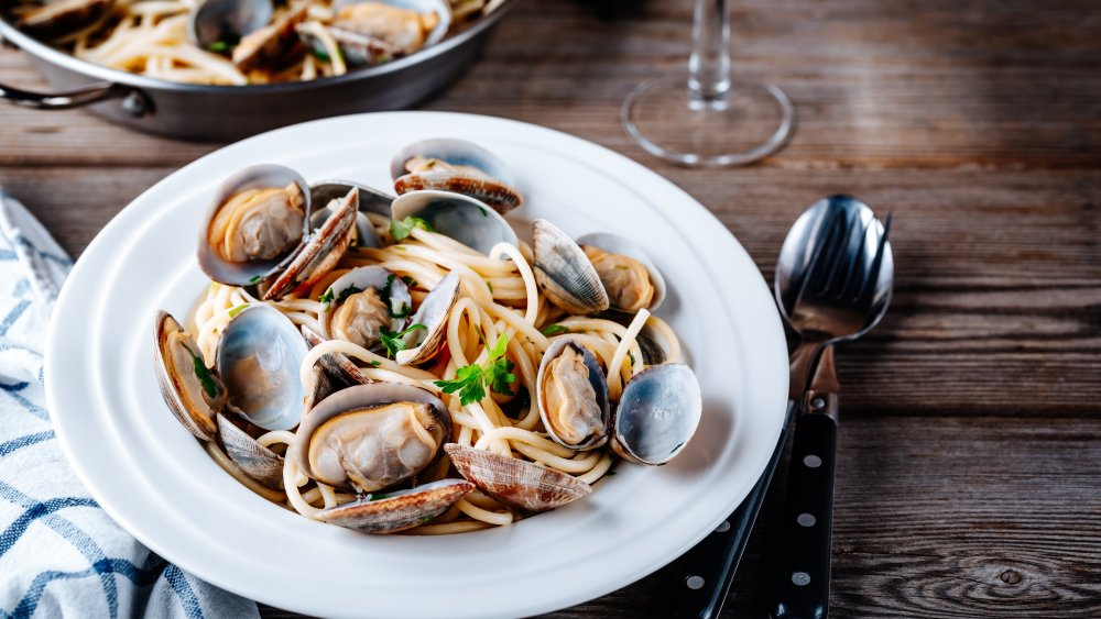 bowl of pasta with clams