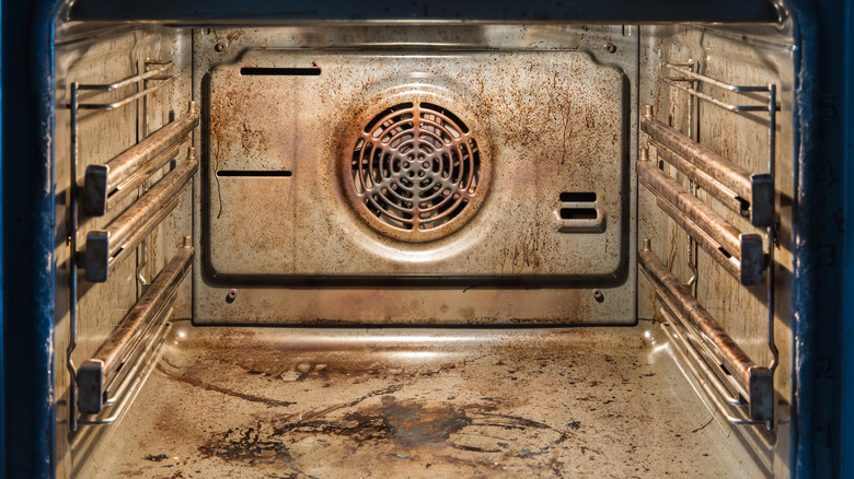 Interior of a dirty oven