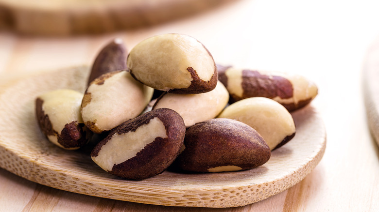 Close up of Brazil nuts on table