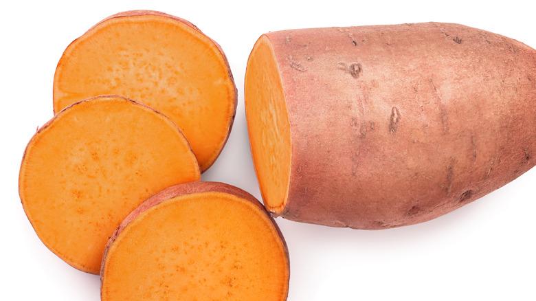 A shot of sliced sweet potatoes