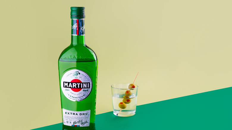 Vermouth bottle and martini