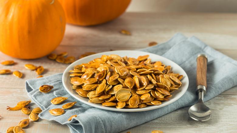 Pumpkin seeds on a plate
