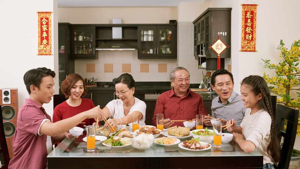 Family sharing Lunar New Year dinner