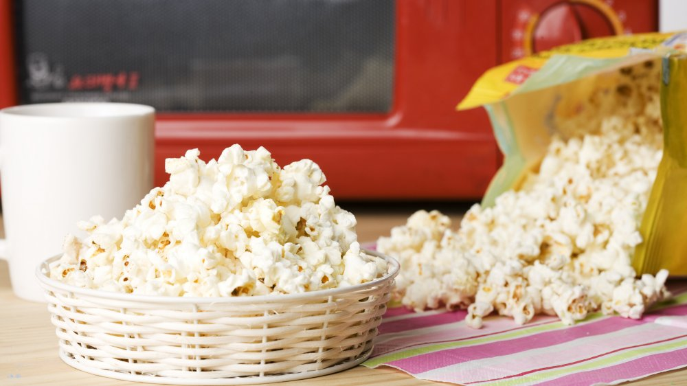 bowl of microwavable popcorn