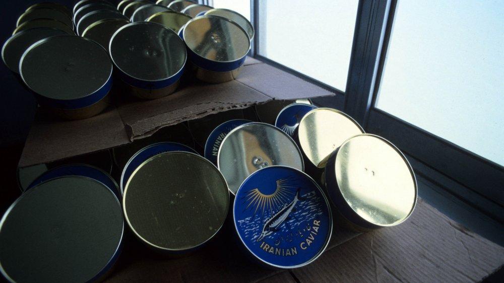 Tins ready for beluga caviar