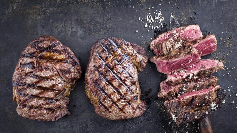 Rare steak with flaky salt