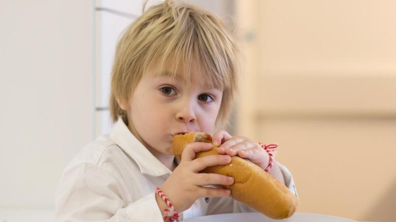 Small boy eating hot dog