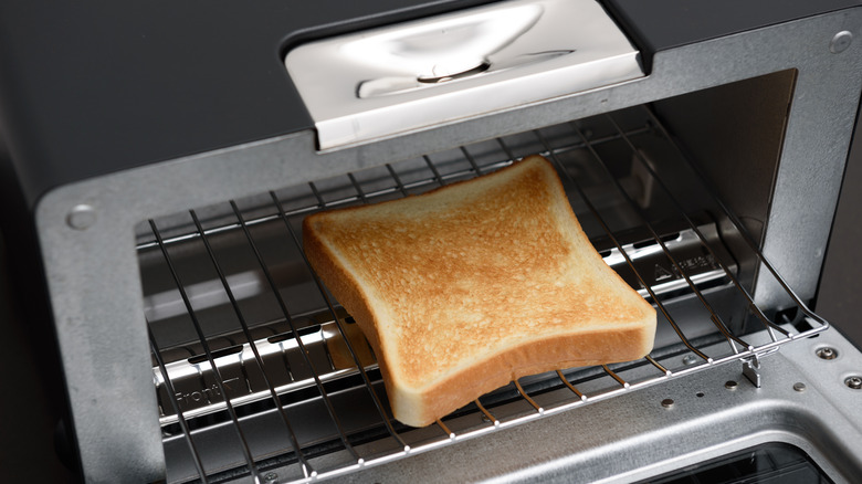 Bread grilling in a toaster oven