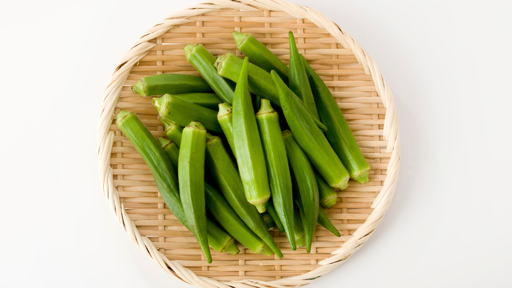 Fresh okra in basket