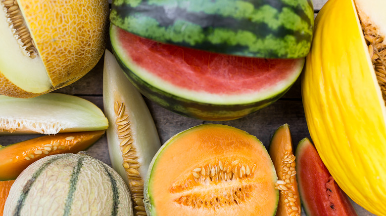 Various melons cut and sliced