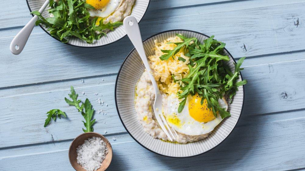 Savory oatmeal, fried eggs