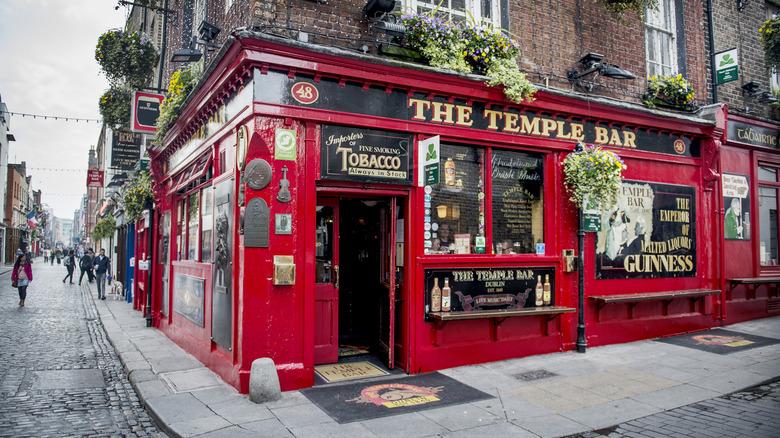 Outside Ireland pub on street corner