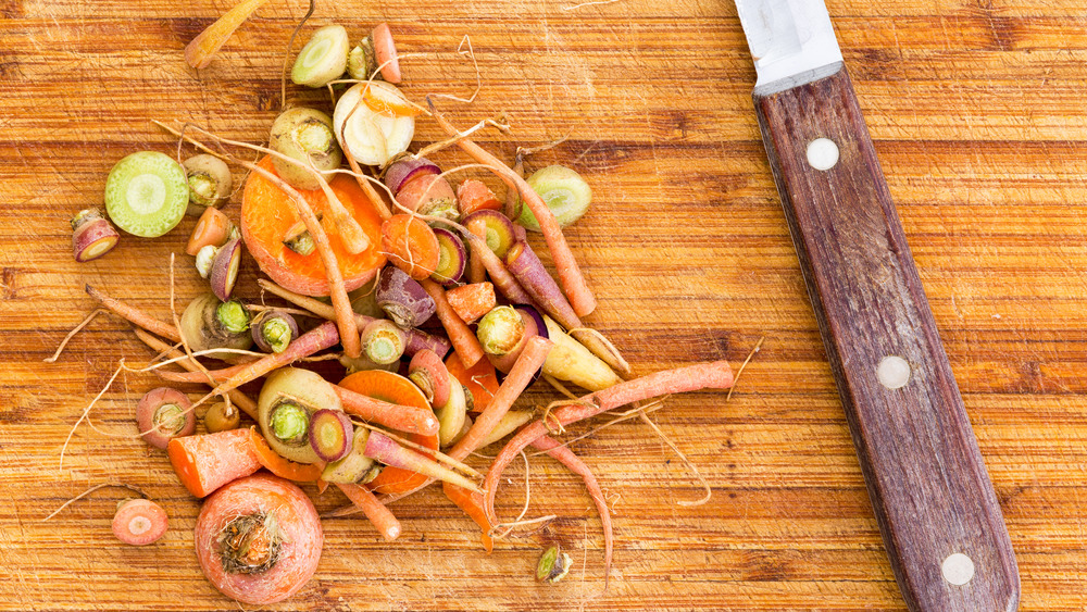 leftover scraps from chopping carrots