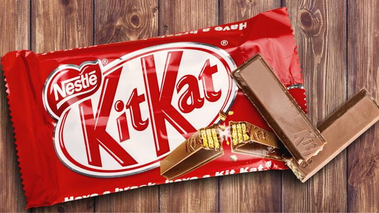 Kit Kat wrapper on wood