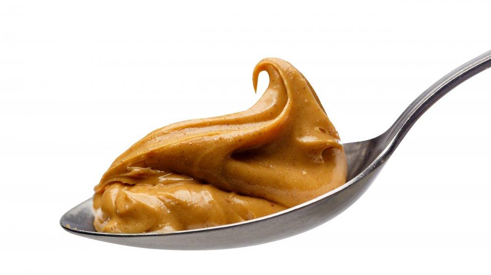 peanut butter on spoon