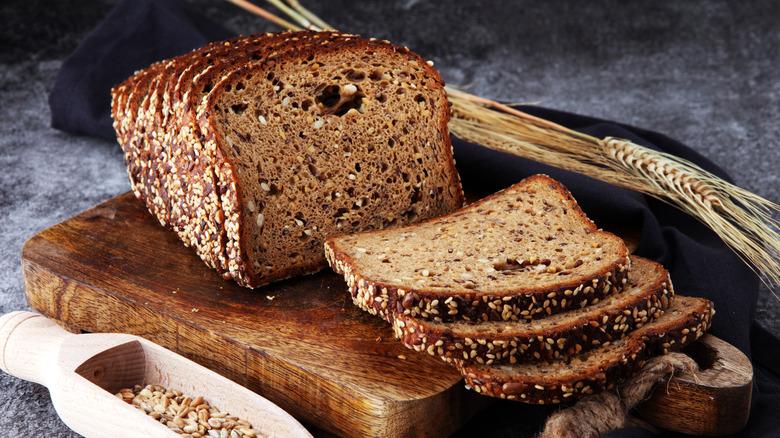 Wheat bread on a wooden board