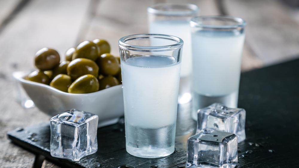 Glasses of Greek ouzo