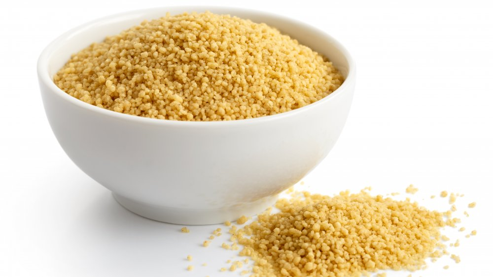 Dry couscous in a bowl