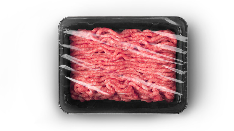 ground beef in supermarket package