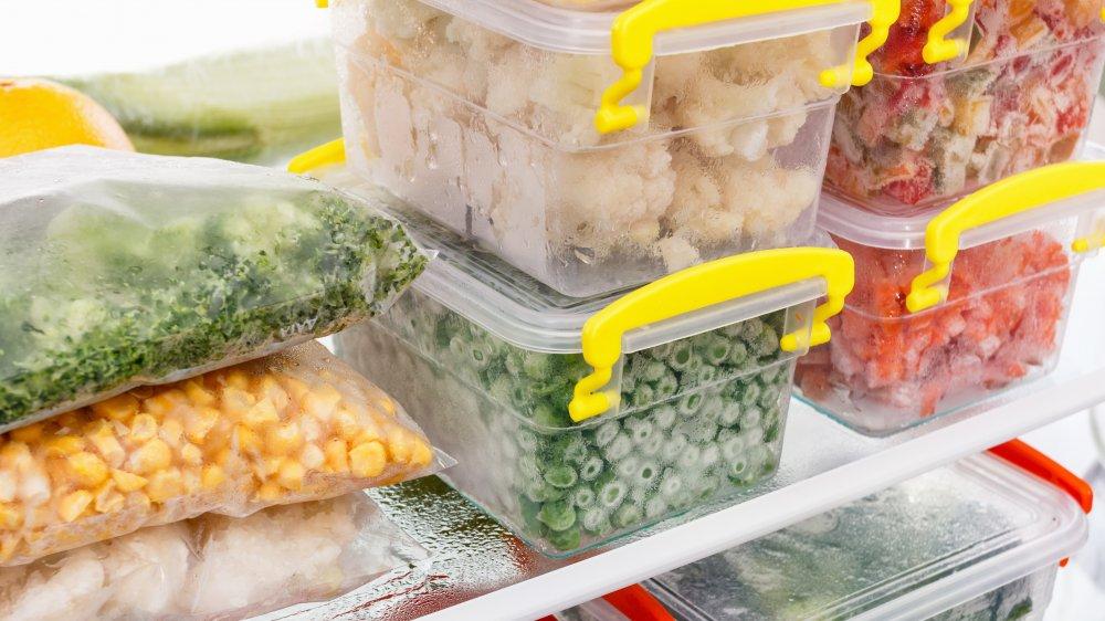 frozen vegetables in the freezer