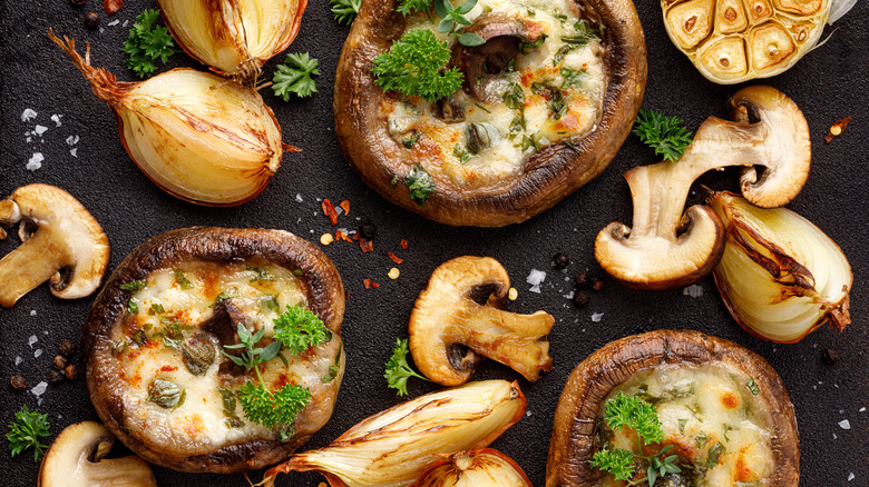 Grilled mushrooms stuffed with cheese
