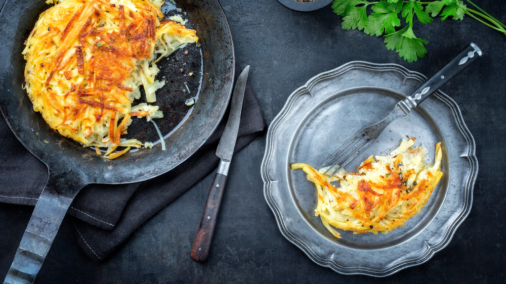 Hash browns in a skillet