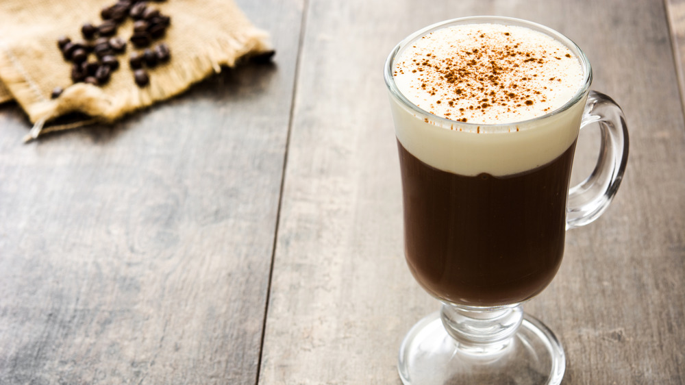 A glass of Irish coffee