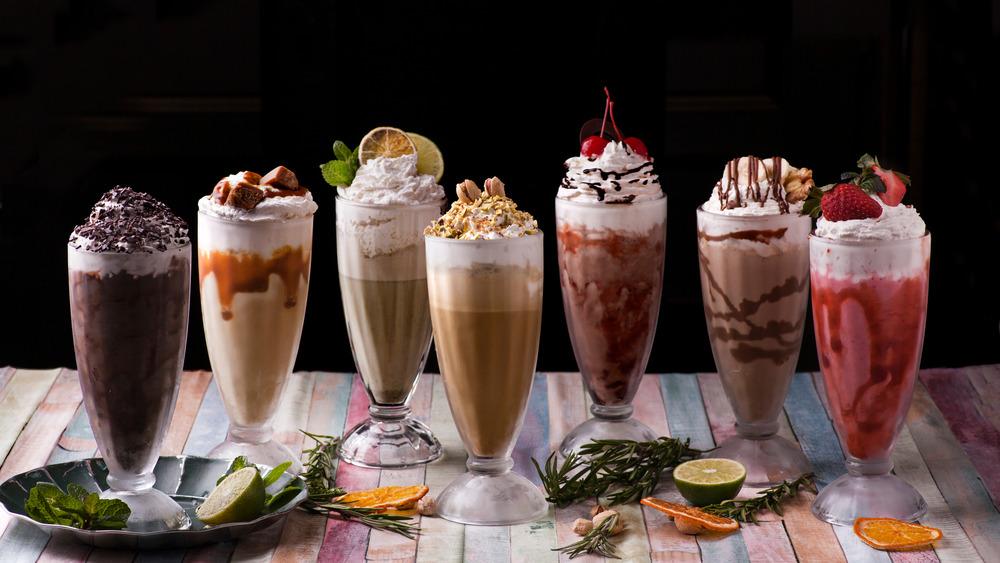 assortment of milkshakes