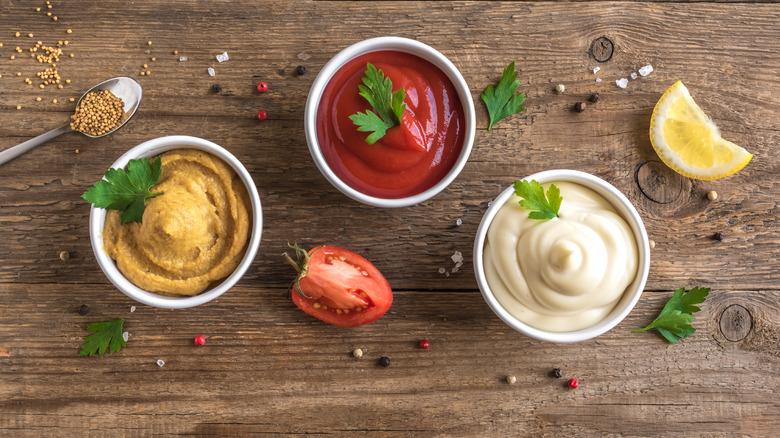 Ketchup, mayo and mustard