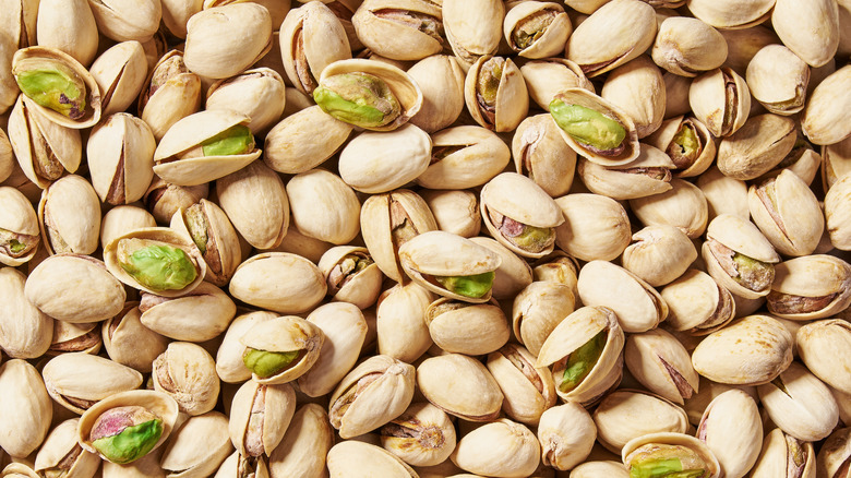 Large pile of pistachio nuts