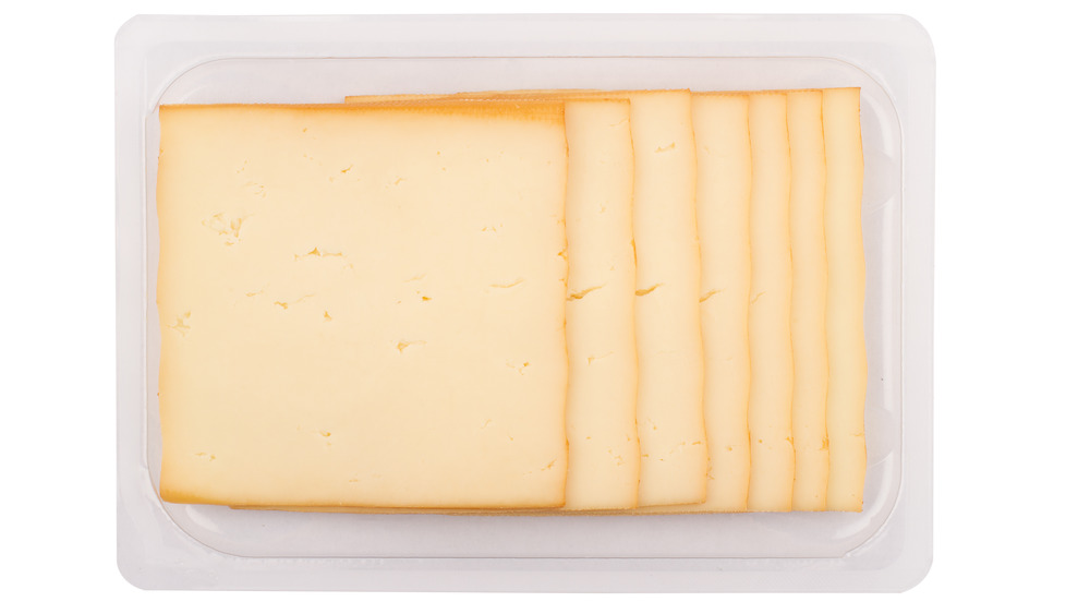 Slices of packaged cheese
