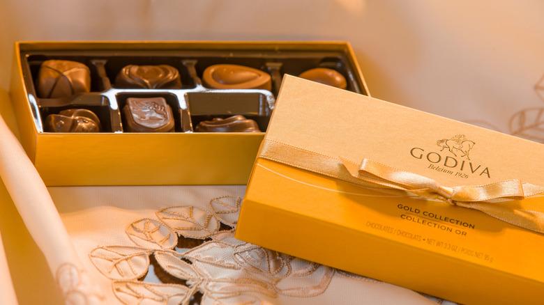 Open box of Godiva chocolates