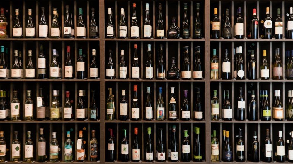 A shelf of wine bottles